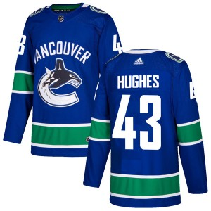 Youth Vancouver Canucks Quinn Hughes Adidas Authentic Home Jersey - Blue