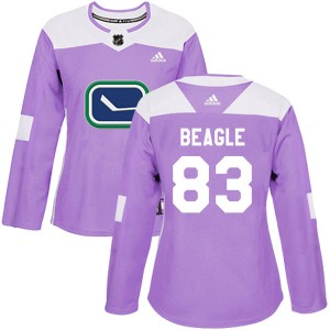 Women's Vancouver Canucks Jay Beagle Adidas Authentic Fights Cancer Practice Jersey - Purple