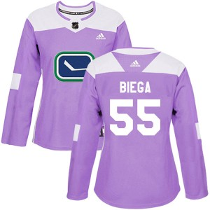 Women's Vancouver Canucks Alex Biega Adidas Authentic Fights Cancer Practice Jersey - Purple