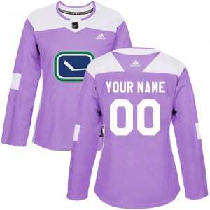Women's Vancouver Canucks Custom Adidas Authentic ized Fights Cancer Practice Jersey - Purple
