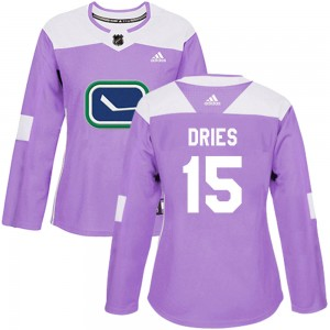 Women's Vancouver Canucks Sheldon Dries Adidas Authentic Fights Cancer Practice Jersey - Purple