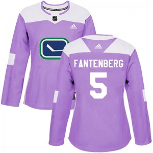 Women's Vancouver Canucks Oscar Fantenberg Adidas Authentic Fights Cancer Practice Jersey - Purple