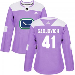 Women's Vancouver Canucks Jonah Gadjovich Adidas Authentic Fights Cancer Practice Jersey - Purple