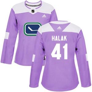 Women's Vancouver Canucks Jaroslav Halak Adidas Authentic Fights Cancer Practice Jersey - Purple