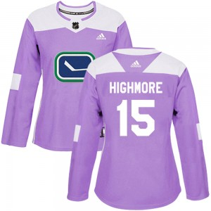 Women's Vancouver Canucks Matthew Highmore Adidas Authentic Fights Cancer Practice Jersey - Purple