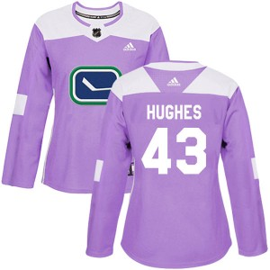 Women's Vancouver Canucks Quinn Hughes Adidas Authentic Fights Cancer Practice Jersey - Purple