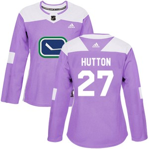 Women's Vancouver Canucks Ben Hutton Adidas Authentic Fights Cancer Practice Jersey - Purple