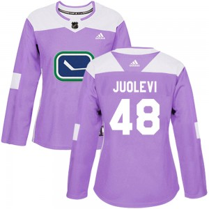 Women's Vancouver Canucks Olli Juolevi Adidas Authentic ized Fights Cancer Practice Jersey - Purple