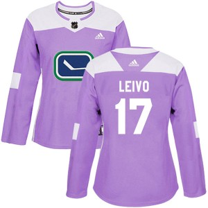 Women's Vancouver Canucks Josh Leivo Adidas Authentic Fights Cancer Practice Jersey - Purple