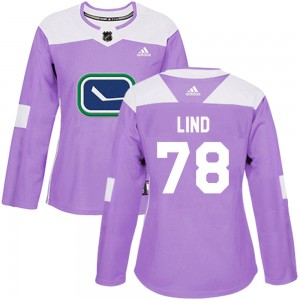 Women's Vancouver Canucks Kole Lind Adidas Authentic Fights Cancer Practice Jersey - Purple