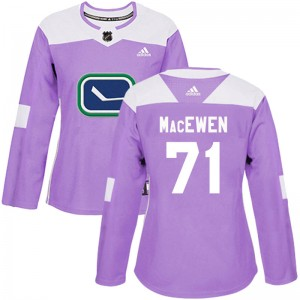 Women's Vancouver Canucks Zack MacEwen Adidas Authentic Fights Cancer Practice Jersey - Purple
