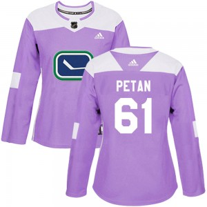 Women's Vancouver Canucks Nic Petan Adidas Authentic Fights Cancer Practice Jersey - Purple