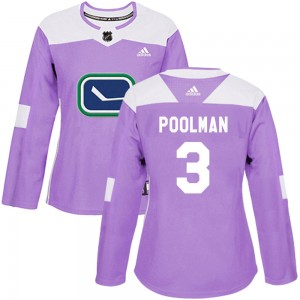 Women's Vancouver Canucks Tucker Poolman Adidas Authentic Fights Cancer Practice Jersey - Purple
