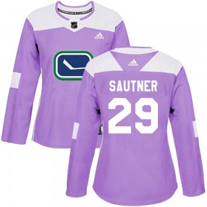 Women's Vancouver Canucks Ashton Sautner Adidas Authentic Fights Cancer Practice Jersey - Purple