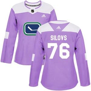 Women's Vancouver Canucks Arturs Silovs Adidas Authentic Fights Cancer Practice Jersey - Purple