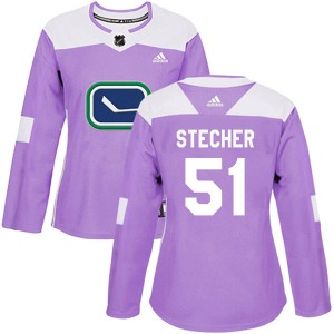 Women's Vancouver Canucks Troy Stecher Adidas Authentic Fights Cancer Practice Jersey - Purple