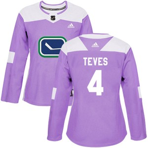 Women's Vancouver Canucks Josh Teves Adidas Authentic Fights Cancer Practice Jersey - Purple