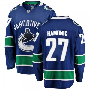 Youth Vancouver Canucks Travis Hamonic Fanatics Branded Breakaway Home Jersey - Blue