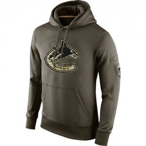 Men's Vancouver Canucks Nike Salute To Service KO Performance Hoodie - Olive