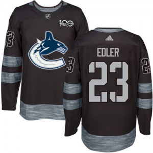 Men's Vancouver Canucks Alexander Edler Adidas Authentic 1917-2017 100th Anniversary Jersey - Black