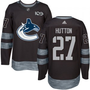 Men's Vancouver Canucks Ben Hutton Adidas Authentic 1917-2017 100th Anniversary Jersey - Black