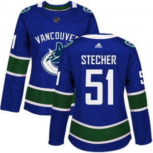 Women's Vancouver Canucks Troy Stecher Adidas Authentic Home Jersey - Blue