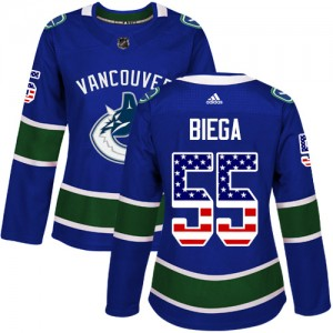 Women's Vancouver Canucks Alex Biega Adidas Authentic USA Flag Fashion Jersey - Blue