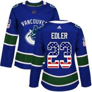 Women's Vancouver Canucks Alexander Edler Adidas Authentic USA Flag Fashion Jersey - Blue