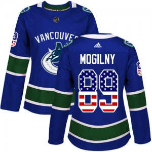 Women's Vancouver Canucks Alexander Mogilny Adidas Authentic USA Flag Fashion Jersey - Blue