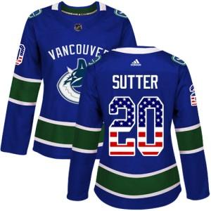 Women's Vancouver Canucks Brandon Sutter Adidas Authentic USA Flag Fashion Jersey - Blue