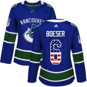 Women's Vancouver Canucks Brock Boeser Adidas Authentic USA Flag Fashion Jersey - Blue