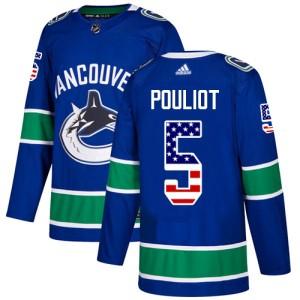 Men's Vancouver Canucks Derrick Pouliot Adidas Authentic USA Flag Fashion Jersey - Blue