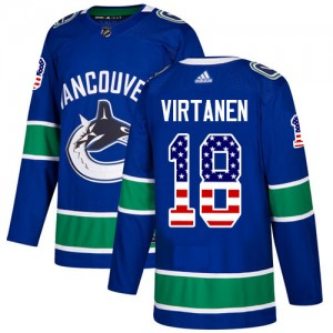 Men's Vancouver Canucks Jake Virtanen Adidas Authentic USA Flag Fashion Jersey - Blue