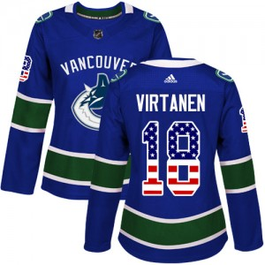 Women's Vancouver Canucks Jake Virtanen Adidas Authentic USA Flag Fashion Jersey - Blue