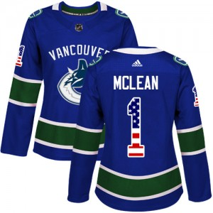 Women's Vancouver Canucks Kirk Mclean Adidas Authentic USA Flag Fashion Jersey - Blue