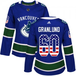Women's Vancouver Canucks Markus Granlund Adidas Authentic USA Flag Fashion Jersey - Blue