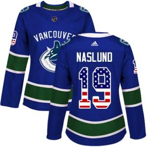 Women's Vancouver Canucks Markus Naslund Adidas Authentic USA Flag Fashion Jersey - Blue