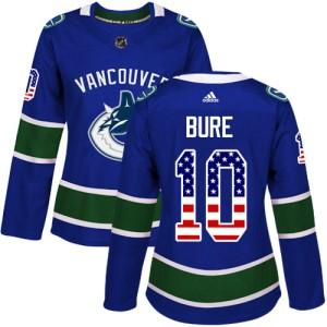 Women's Vancouver Canucks Pavel Bure Adidas Authentic USA Flag Fashion Jersey - Blue