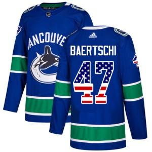 Men's Vancouver Canucks Sven Baertschi Adidas Authentic USA Flag Fashion Jersey - Blue
