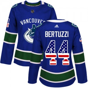 Women's Vancouver Canucks Todd Bertuzzi Adidas Authentic USA Flag Fashion Jersey - Blue
