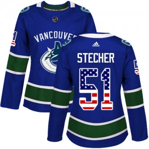 Women's Vancouver Canucks Troy Stecher Adidas Authentic USA Flag Fashion Jersey - Blue