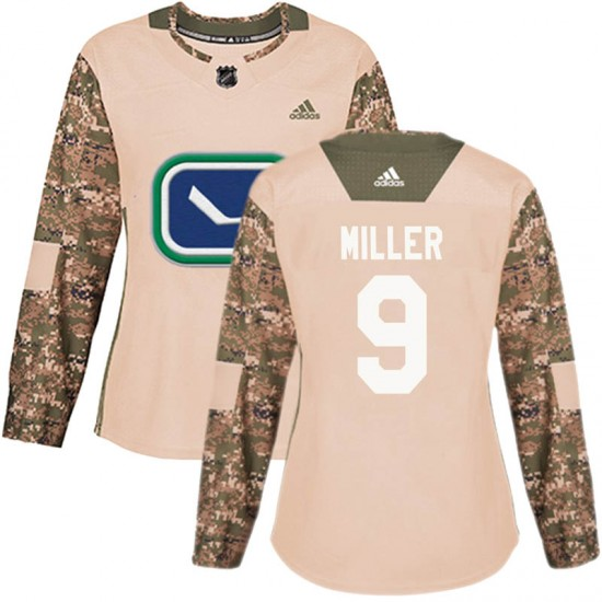 Women's Vancouver Canucks J.T. Miller Adidas Authentic Veterans Day Practice Jersey - Camo