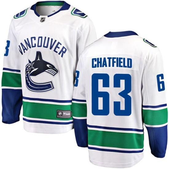 Men's Vancouver Canucks Jalen Chatfield Fanatics Branded Breakaway Away Jersey - White