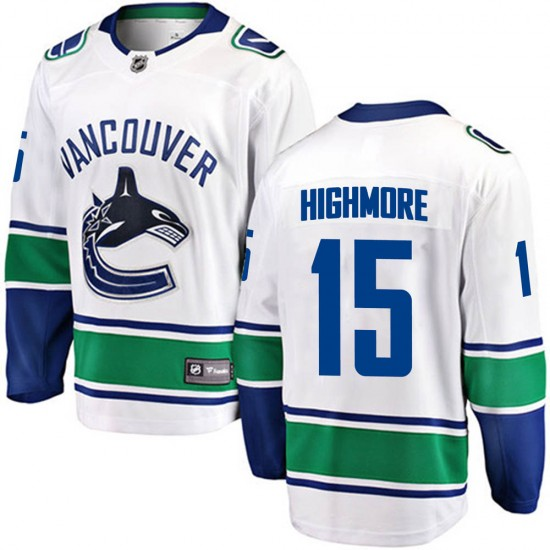 Youth Vancouver Canucks Matthew Highmore Fanatics Branded Breakaway Away Jersey - White