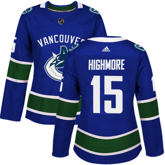 Women's Vancouver Canucks Matthew Highmore Adidas Authentic Home Jersey - Blue