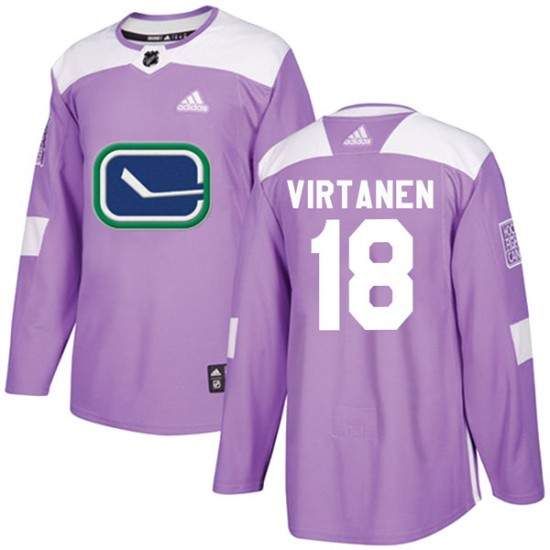 Youth Vancouver Canucks Jake Virtanen Adidas Authentic Fights Cancer Practice Jersey - Purple