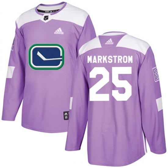 Men's Vancouver Canucks Jacob Markstrom Adidas Authentic Fights Cancer Practice Jersey - Purple