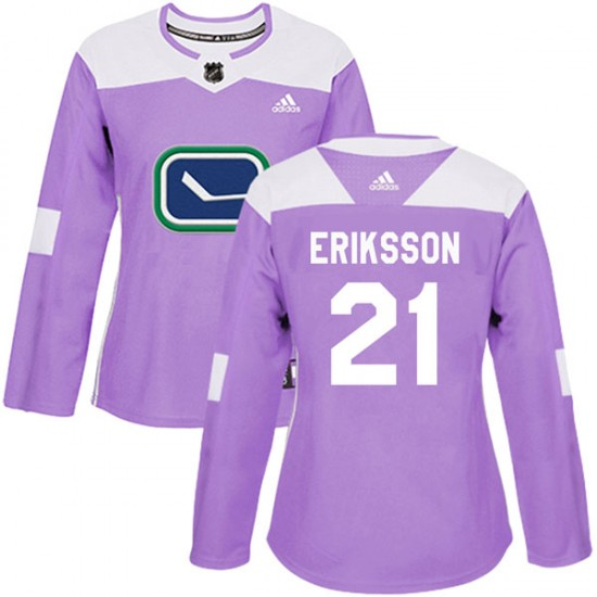 Women's Vancouver Canucks Loui Eriksson Adidas Authentic Fights Cancer Practice Jersey - Purple