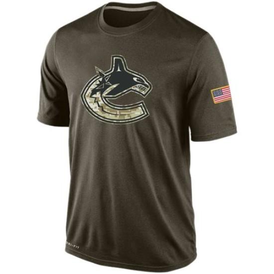 Men's Vancouver Canucks Nike Salute To Service KO Performance Dri-FIT T-Shirt - Olive